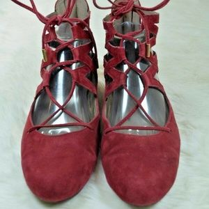 Aerosoles Goodness Red Suede Lace Up Ballet Flats